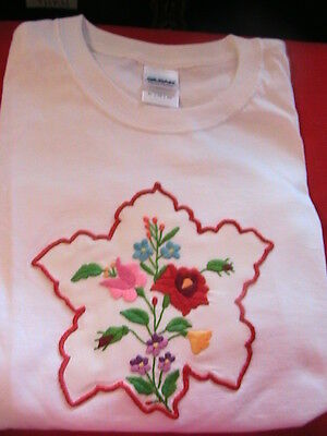 HUNGARIAN KALOCSA MULTI-POINT HAND EMBROIDERED DOILY T-SHIRT WHITE SIZE XLG