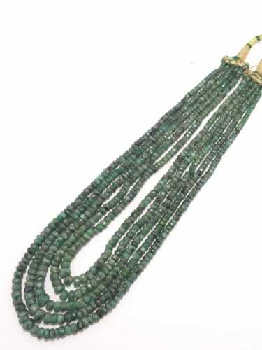 Emerald Necklace Natural Emerald Faceted Bead Loose Beads Emerald 5 Strand 18