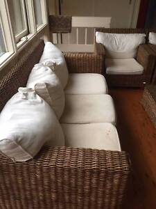 Cane Couch, Chairs and Glass/Cane Coffee Table Lane Cove Lane Cove Area Preview