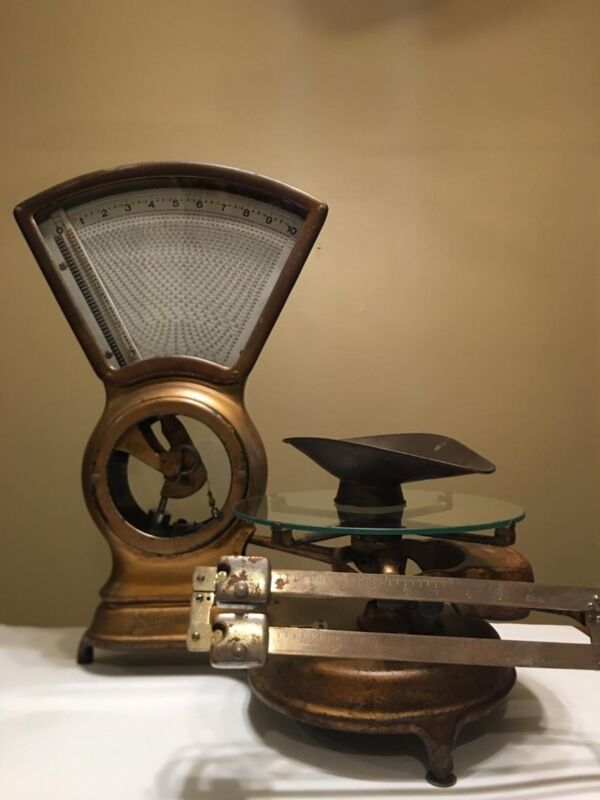 Antique Stimpson Computing Scale, Mercantile Brass 10 lbs, Patented 1907 Aug 20