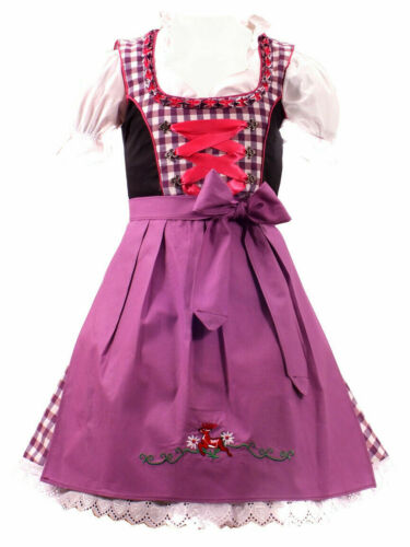 Girls,US sz 11 Germany,German,Trachten,Oktoberfest,Dirndl Dress,3pc.Fuchsia,Plum