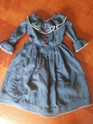 Antique Looking Doll Dress for China Head Dolls Blue Dots Cotton