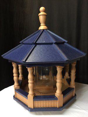 Large Vinyl Bird Feeder Amish Homemade Handmade Handcrafted Cedar & Blue Roof