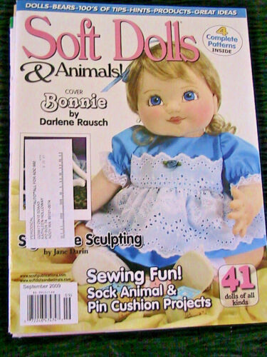 SOFT DOLLS & ANIMALS~September 2009 cloth doll patterns~techniques~tips magazine