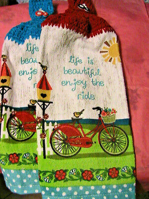 ENJOY THE BIKE RIDE~2 CROCHET TOP kitchen bath hand towels BICYCLE BUTTONS for sale  Shipping to India
