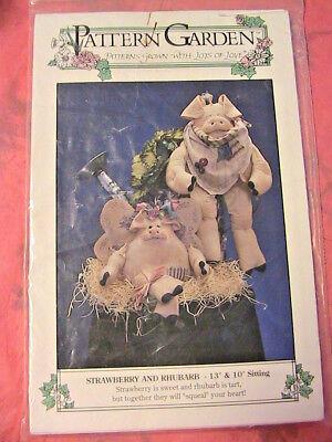 "STRAWBERRY & RHUBARB PIGS 1994 13"" & 10""  cloth art animal doll pattern"