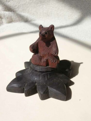 Antique Depression Era Sewing Wooden BEAR Thimble Holder