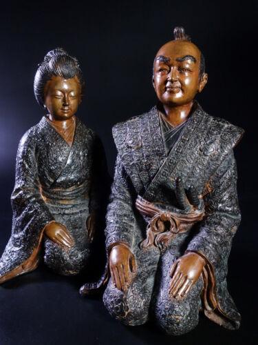 RARE PAIR AUTHENTIC JAPANESE BRONZE SCULPTURES, SAMURAI & GEISHA