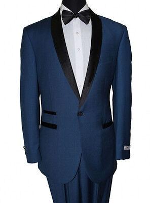 Men's 1 Button Black Satin Shawl Collar Flat Front Pants Slim Fit Suit Tuxedo  ()