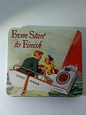 "RARE ORIGINAL LUCKY STRIKE CIGARETTE CASE TIN SAILING ""FROM START TO FINISH""."
