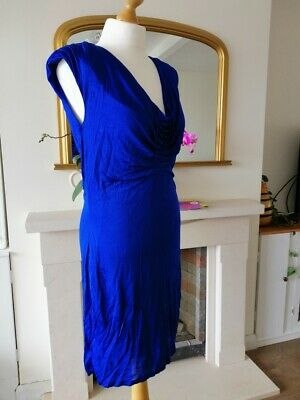 Blue Cowl Neck (Ted Baker High Shine Cowl neck jersey dress WILBUR royal blue size  3 (12))