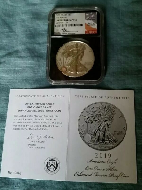 2019(S) Silver Eagle Enhanced Reverse PF70 Mercanti Signed FR