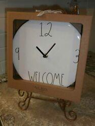 NEW Rae Dunn Ceramic 9 Wall Clock HTF 12 3 WELCOME 9