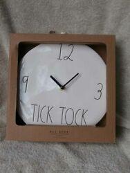 NEW NIP Rae Dunn Ceramic 9 Wall Clock TICK TOCK