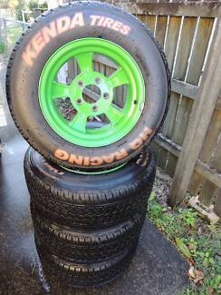DRAGWAY RIMS WITH 'WET' TYRES (SET of 4) Camp Hill Brisbane South East Preview