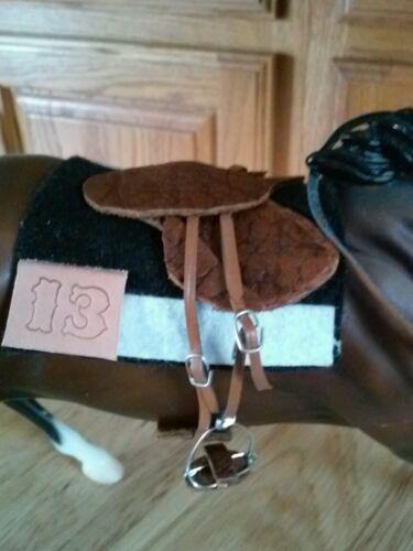 Breyer horse custom Nyquist Secretariat race saddle set Kentucky Derby
