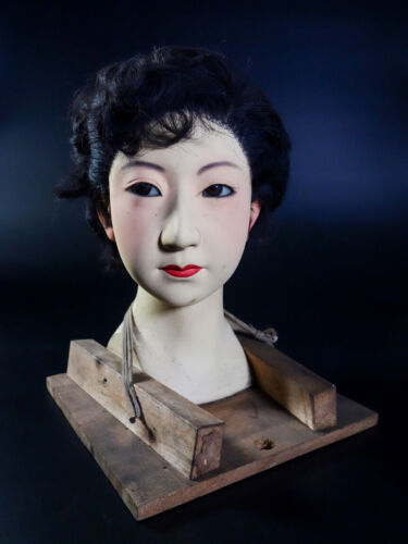 Scarce Unique Authentic Japanese Life Size Mannequin Head 1920