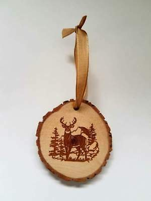 RUSTIC WOOD DEER BUCK CHRISTMAS ORNAMENT