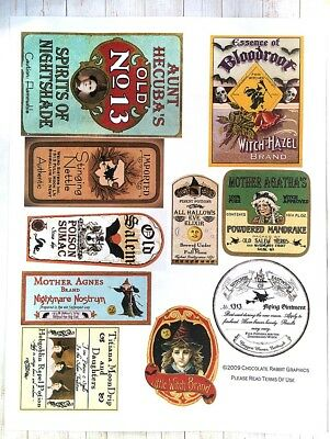 Halloween Potion Bottle Labels, Aged Color, Uncut Label Stickers Set of 10
