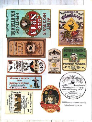 Halloween Potion Bottle Labels, Aged Color, Uncut Label Stickers Set of 10