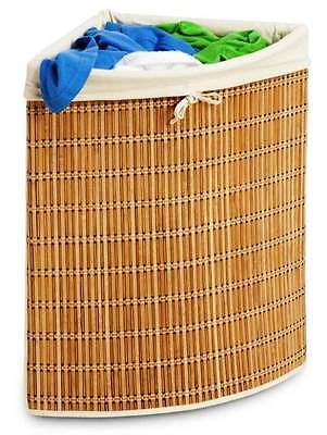 Bamboo Wicker Corner Hamper/Laundry Basket-Great for Tight Spaces! ()