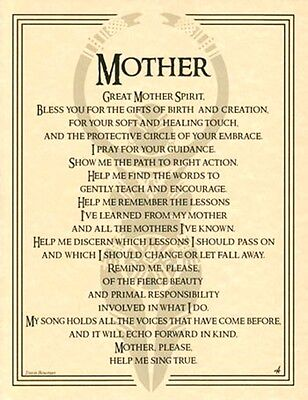 Great Mother Goddess Spirit Invocation Poster Book of Shadows Page Wiccan Pagan