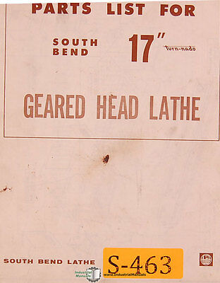 South Bend 17 Turn-nado Geared Head Lathe Parts Manual 1972