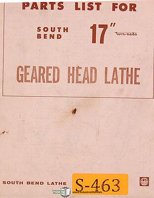 South Bend 17 Turn-nado Geared Head Lathe Parts Manual 1972