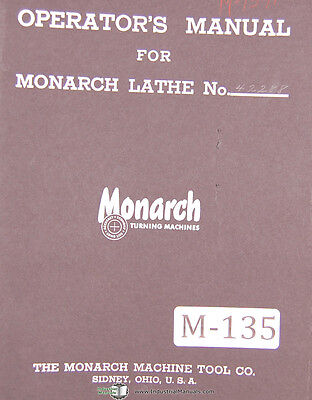 Monarch Series 60 Engine Tool Makers Lathe Operations Parts Lubes Manual