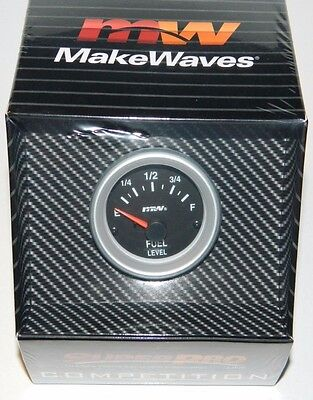 "NEW Make Waves SUPERPRO COMPETITION 2 1/16"" Fuel Level Gauge Electric 0/90 ohms"