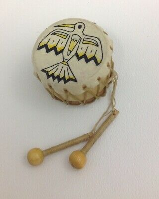 Vintage Native American Hand Painted Drum Miniature