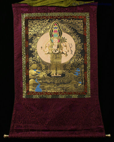 Tibetan Buddhism Silk Cloth 1000 Arms Avalokiteshvara of Goddess Thangka Tangka