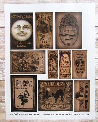 Halloween Potion Bottle Labels, Aged Sepia, Large Uncut Label Stickers Set of 10