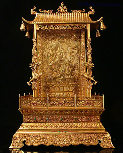 Tibet Bronze 24K Gold Inlay Gem Wenshu Manjushri Dragon Scripture Buddhist Altar