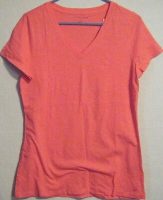 NWT Tommy Hilfiger Womens Pink V-Neck T-Shirt Top Color Rouge Red Size Medium