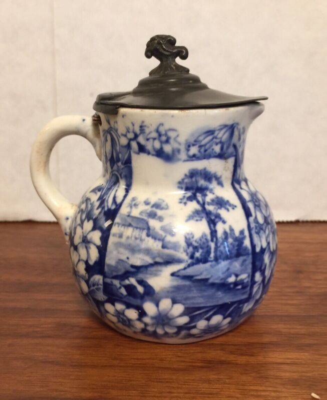 Antique Ridgways Blue Transferware Pewter Lidded Syrup VISTAS Pattern Excellent