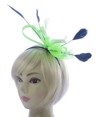 Grande Neón Verde y Negro Diadema Sombrero Tocado Boda Mujer