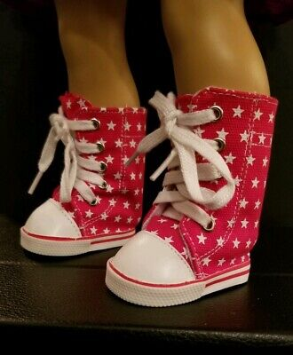 Tennis Shoe Boots For Girls (RED & WHITE Star Tennis Hi-Top Boots Doll Shoes For 18