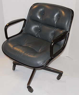 VINTAGE KNOLL POLLOCK EXECUTIVE GRAY LEATHER CHAIR! ARMS! CASTERS! BLACK BACK!