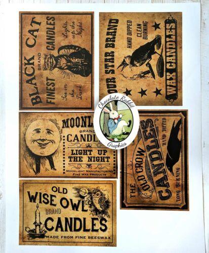 Primitive Candle Labels, Vintage Country Style, 5 Labels, Uncut Sticker Paper