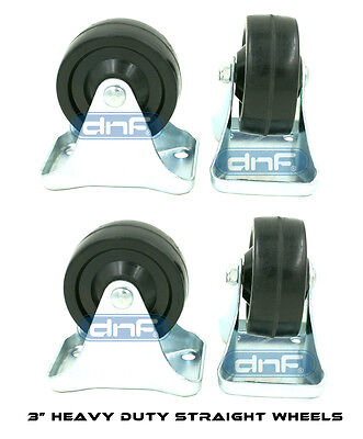 4 Pack 3 Caster Wheels Rubber Plate Heavy Duty Straight Movement- Ships Today