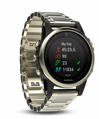 Garmin fnix 5S Sapphire GPS Heart Rate Monitor Watch Champagne with Metal Band 010-01685-14
