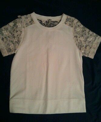 J Crew Lace-sleeve womens teeshirt $148  #A3775 Ivory Small S tee top shirt
