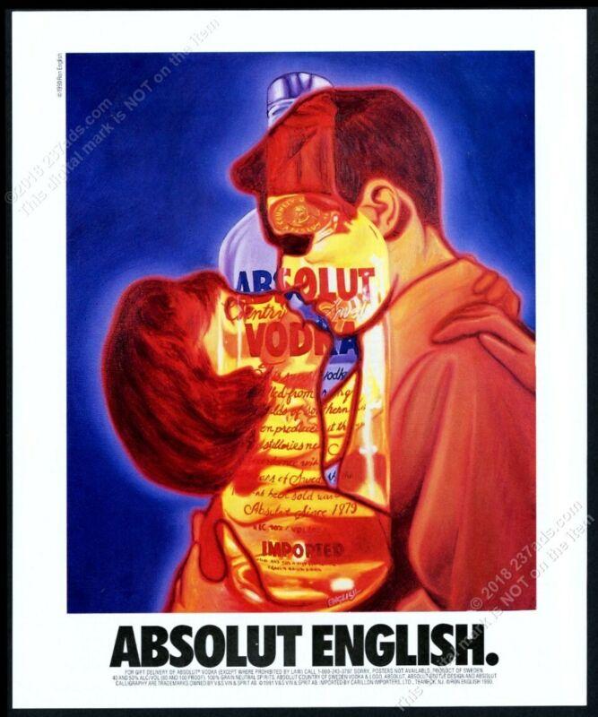 1993 Absolut English Ron English vodka bottle art vintage print ad
