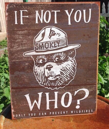 Smokey the Bear If Not You Who Can Prevent Wildfires Tin Metal Sign Vintage