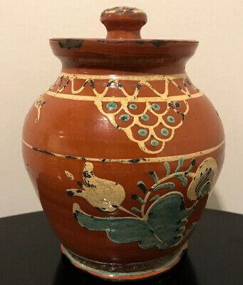 Greg Shooner Pottery Redware Lidded Pot Slip Flowers Decorated Signed