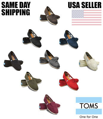 Brand New Authentic Womens Toms Classic Slip On Flats Canvas Shoes US - Classic Toms