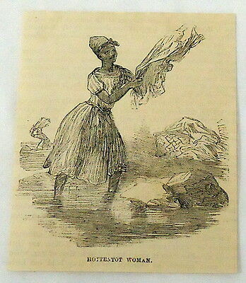 1859 magazine engraving~ HOTTENTOT WOMAN, Khoikhoi, South Africa