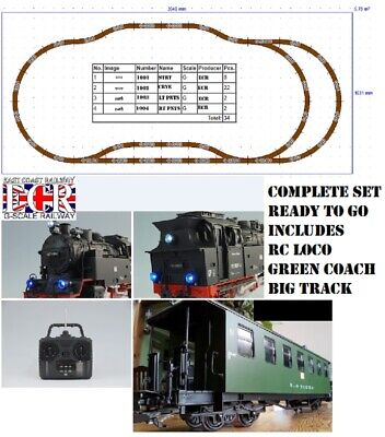 NEW G SCALE RC LOCO, COACH & TRACK, STARTER SET 45mm GAUGE GARDEN RAILWAY TRAIN for sale  Shipping to Ireland