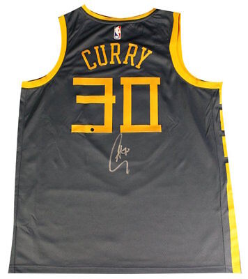 2870b64bd98 STEPHEN CURRY Autographed Warriors Chinese Heritage  The Bay  Jersey STEINER